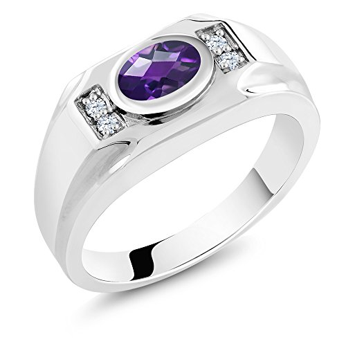1.16 Ct Oval Purple Amethyst White Created Sapphire Silver Men's Ring