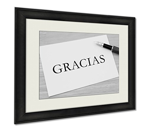Ashley Framed Prints Writing A Thank You Note Gracias, Wall Art Home Decoration, Black/White, 34x40 (frame size), AG6615304 by Ashley Framed Prints