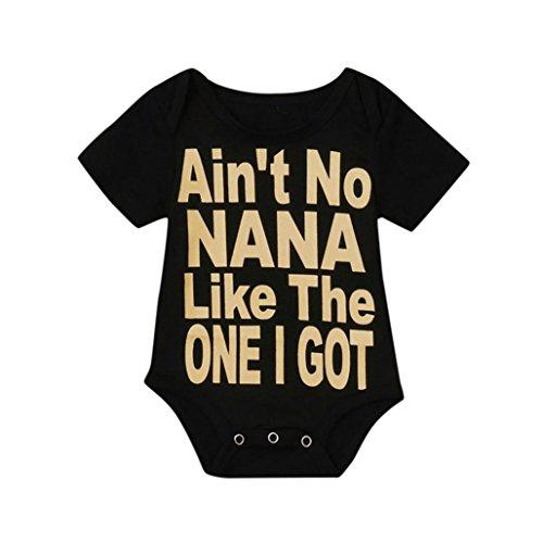 Conina Cotton Letter Print Newborn Infant Baby Girl Boy Romper Bodysuit Jumpsuit Outfits Sunsuit Clothes (Black, 70) - Bundle 3 Month