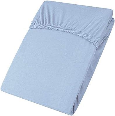 aqua-textil Viana sábana Bajera Ajustable algodón, Azul 90x200 bis 100x200 cm