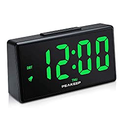 PEAKEEP Night Light Plug in Digital Alarm Clock with USB Charger Dimmer, Day, DST (Green LED)