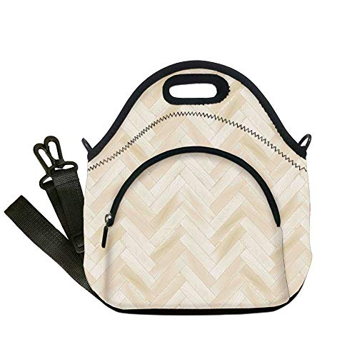 Insulated Lunch Bag,Neoprene Lunch Tote Bags,Beige,Realistic Wooden Floor Chevron Oak Parquet Artprint Urban Modern Diagonal Decorative Home Decorative,Beige,for Adults and children