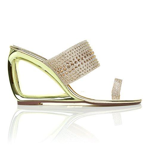 ShuWish UK Cairo Sleek Metallic Gold Cut Out Diamante Shimmer Wedge Sandals AzuXcsQbi