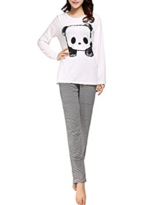 VENTELAN Women's Cute Panda Striped Long Sleeve Sleepwear Pjs Pajama Set Nighty
