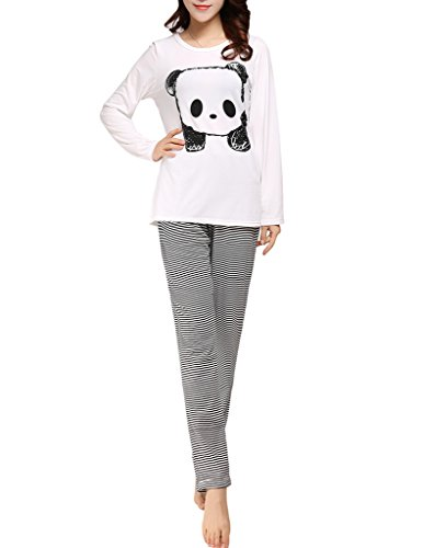 Ventelan Women's Cute Panda Striped Long Sleeve Sleepwear Pjs Pajama Set Nighty XS White (Pajama S)