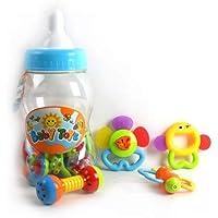 12-Piece Teething Toys Rattles & Shaking Bells (in Baby Bottle Package)