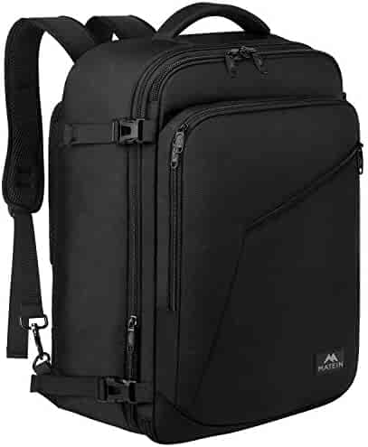 Matein Carry on Backpack, Extra Large Travel Backpack Expandable Flight Approved Weekender Bag for Men and Women, Water Resistant Lightweight Daypack for Airplane 40L, Black