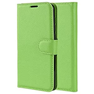 Nokia 7.1 Case Wallet Premium Leather Flip Case Cover with Card Pockets - Green