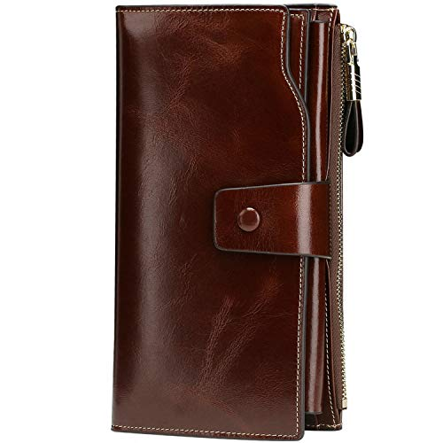 Itslife Women's RFID Blocking Large Capacity Luxury Wax Genuine Leather Cluth Wallet Ladies Card holder (Coffee RFID Blocking)