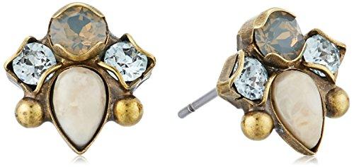 (Sorrelli Coastal Mist Multi-Cut Crystal and Semi Precious Stud Earrings)