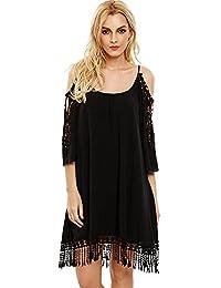 Milumia Verano de la Mujer Cold Shoulder Crochet Lace Sleeve Loose la Playa Vestido
