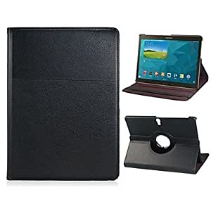 JJE 360-degree Rotation Faux Leather Flip Case with Stand function for Samsung Galaxy Tab S 10.5 T800(Assorted Colors) , Black