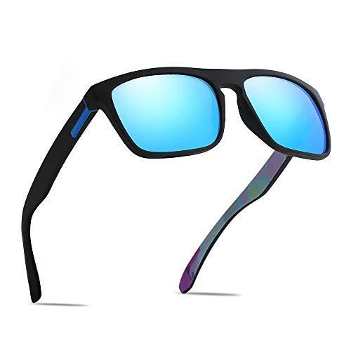 (Polarized Sports Sunglasses Driving Glasses Shades for Men/Women Square Sun glasses Classic Design Mirror Sunglasses (Matte Black-Blue))