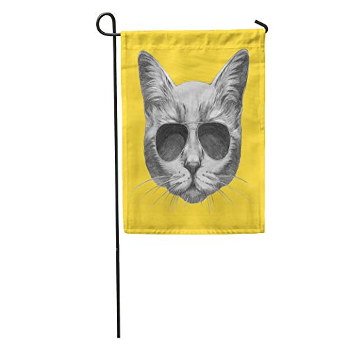 Semtomn Garden Flag Cool Portrait of Cat Sunglasses Retro Animal Pet Graphic Pencil Home Yard House Decor Barnner Outdoor Stand 28x40 Inches - Gingham Kitty Collar