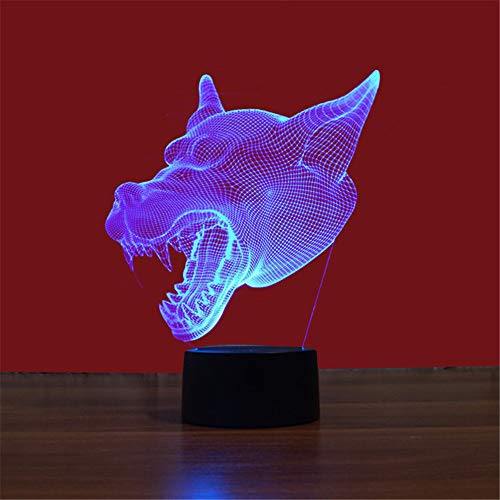 Led8N 3D LED Optical Illusion Lamps Night Light,7 Colour Changing LED Bedside Lamps for Kids with Acrylic Flat,ABS Plastic Base,USB Charger Wolf - Ball Dragon Valentine