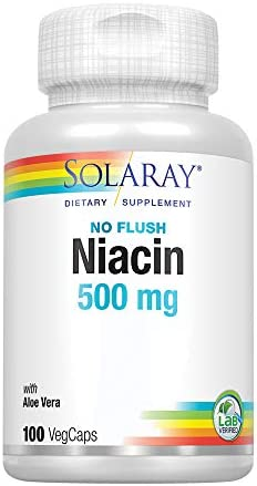 Solaray Niacin, No Flush 500mg | Vitamin B-3 for Healthy Skin, Circulatory, & Nervous System Support | Non-GMO & Vegan | 100 VegCaps