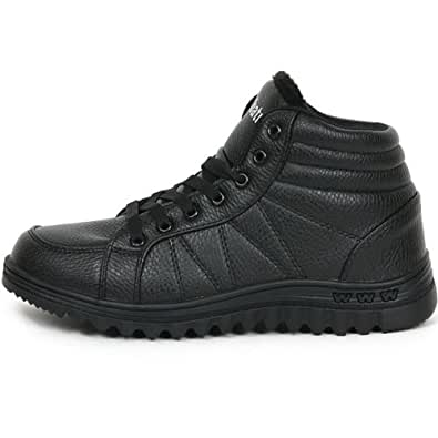 New Mens Lace Up Casual Boots Snow Warm Winter Comfort Shoes Black (6)
