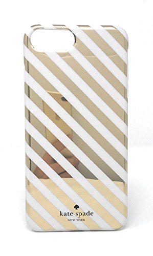 Kate Spade New York Diagonal Stripe Protective Rubber Case For iPhone 7 Plus & iPhone 6 Plus - Gold Cream (York Iphone New)