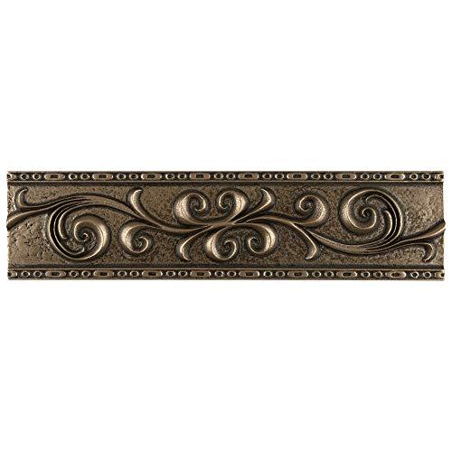 SomerTile WGMSBRRL Denbora Scroll Metallic Liner Wall Trim Tile, 3