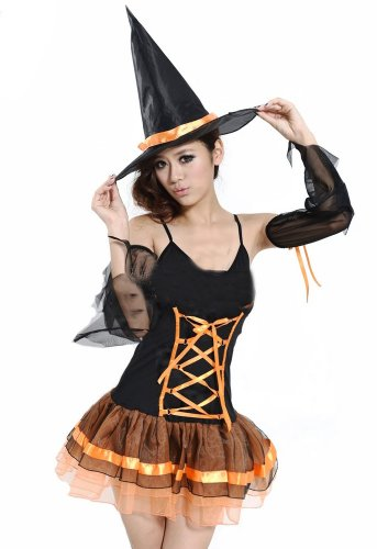 Women's Sexy Soft Dress Black Temptation Pumpkin Princess Costume]()