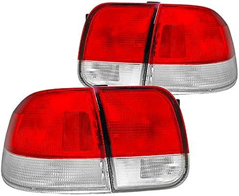 Spec-D Tuning LT-CV964RPW-DP Honda Civic Ex Dx Lx 4 Dr Red Clear Lens Tail Lights Depo
