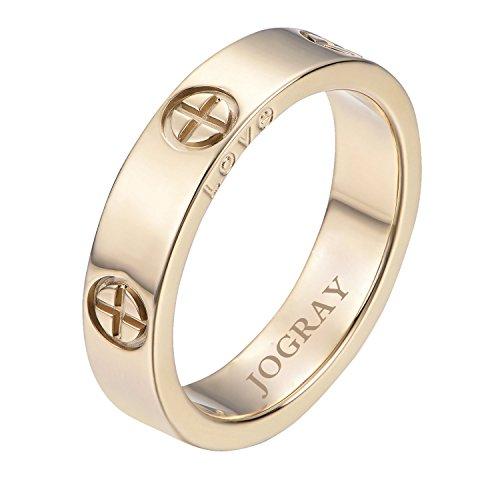 JoGray Stainless Steel Couple Rings Designer Cross Love Wedding Ring Gold Finish Sizes 5-11 JoGray