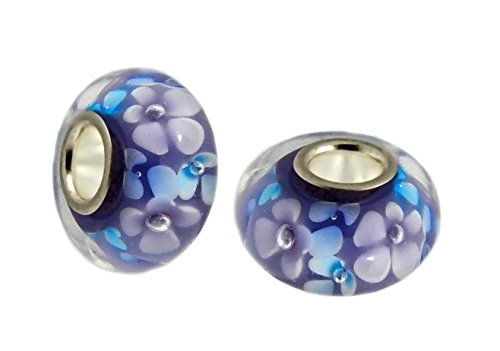 J&M Set of 2 Handmade Purple Murano Glass Charm Bead with Violet and Blue Flowers for Charms - Violet Pandora