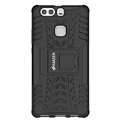AMZER Hybrid Warrior Impact Resistant Case Skin for Huawei P9 Plus - Retail Packaging - Black