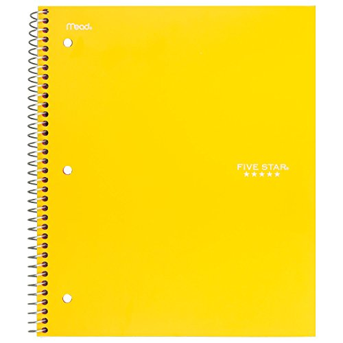 Five Star Spiral Notebook, 5 Subject, Wide Ruled Paper, 200 Sheets, 10-1/2