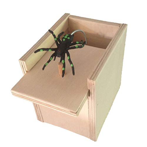 LtrottedJ April Fool's Day Spoof Funny Scare Small Wooden Box Spider Scary Girls