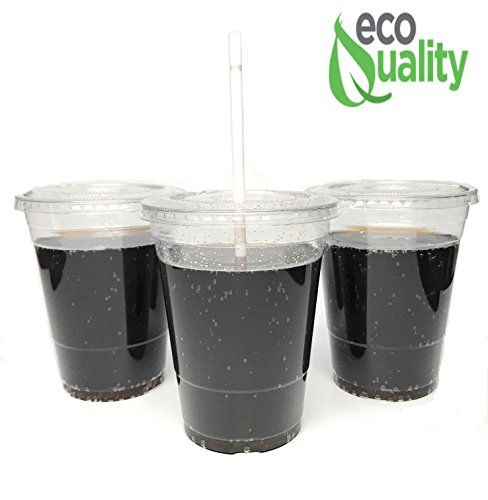 50 Count 16 ounce - EcoQuality Plastic Cups For Cold Drinks - ice Coffee Tea Smoothie Soda - Combo Pack Comes 50 Clear Plastic 16 oz Cup With 50 Clear Plastic Lids & 50 Jumbo Straws - PET COLD