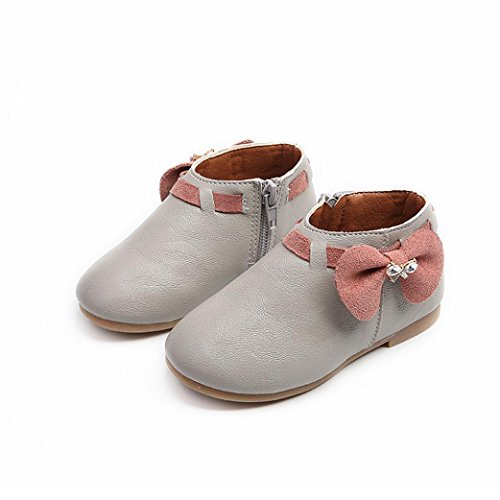 AutumnFall Toddler Children Boots,Baby Girls Fashion Bowknot Zipper Sneaker Boots Anti-slip Casual Shoes (Age:3T, Gray)]()