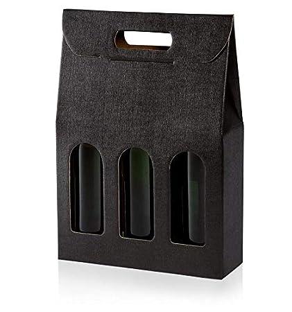 weinkarton24 DREI - 10 scatole di Cartone da Regalo, Colore: Oro, Gold, 3 er Weinkarton24.com
