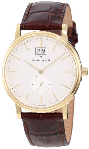 Claude Bernard Men's 64010 37J AID Classic Gents Gold PVD Brown Leather Date Watch