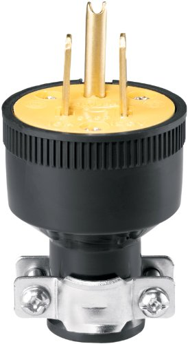 Eaton 1709-SP-L Thermoplastic Straight Body Rubber Plug with 15-Amp, 125-Volt, 5-15-NEMA Rating, Black (Grounding Screw)