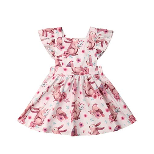 (Toddler Baby Girl Easter Clothes Floral Ruffle Fly Sleeve Bunny Print Princess Dress Girls Summer Outfit (Floral, 110 (3-4 Years)))