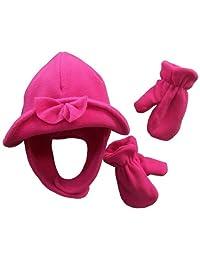 N'Ice Caps Baby Girls 2 Ply Micro Fleece Brim Hat and Mitten Set