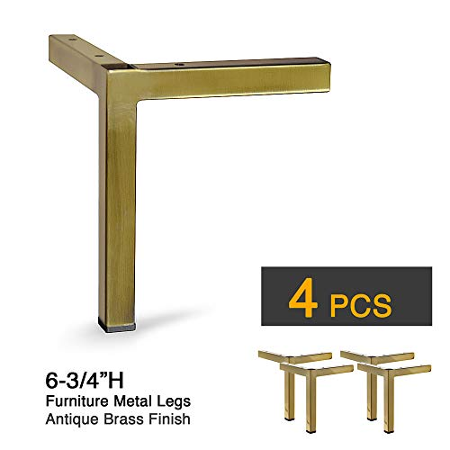 "6-3/4""H Furniture Metal Legs, Square Metal Tube - Set of 4 New (Antique Brass)"