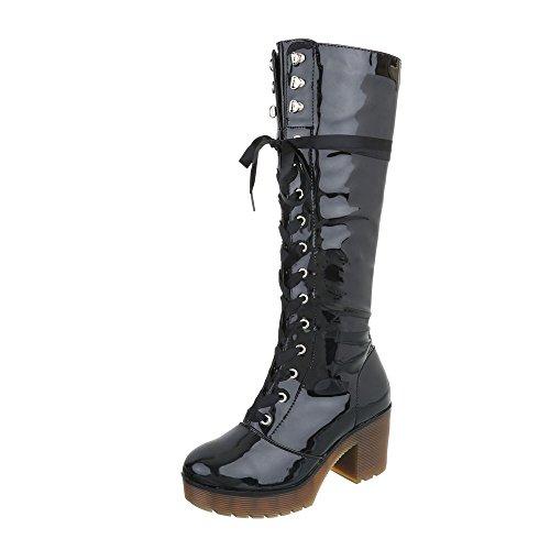 Ital-Design Schnürstiefel Damenschuhe Schnürstiefel Blockabsatz Schnürer Reißverschluss Stiefel Schwarz