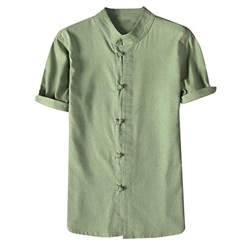 - OrchidAmor Fashion Mens Autumn Winter Button Casual Linen and Cotton Short Sleeve Blouse Green