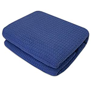 Sweet Home Collection 100% Cotton Blanket All Season Comfort Knit Woven Bedspread Bedding, Full/Queen, Blue