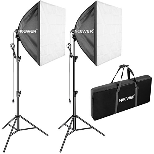 Neewer Pro 700W 24x24 inches/60x60 centimeters Softbox Lighting Kit with 102 inches/260 centimeters Stand, E27 Socket, External White Diffuser for Product Portrait Camera Photo Video Photography by Neewer