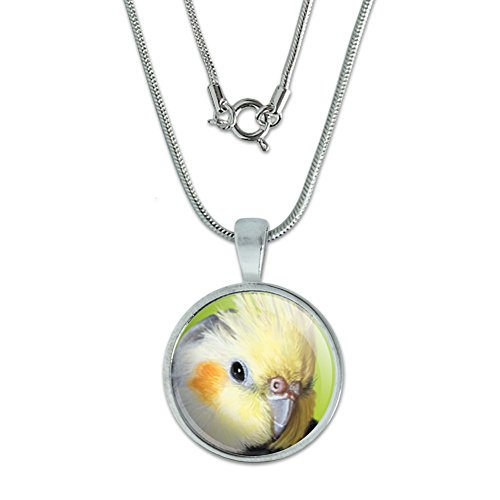 (Cockatiel - Bird Pet Pendant with Sterling Silver Plated Chain)