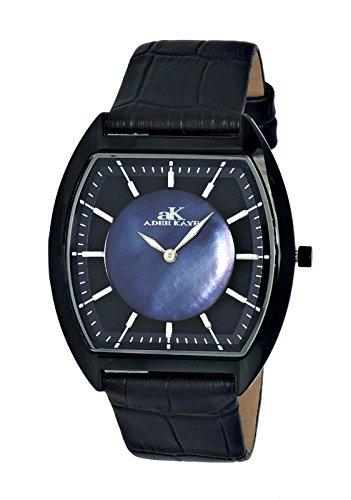Adee Kaye Men's Stainless Steel Japanese-Quartz Watch with Leather Strap, Black, 22 (Model: AK2200-MIPB