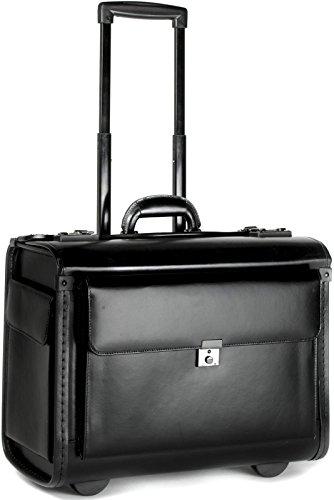 Leather Rolling Catalog Case, Wheeled Pilot Case Laptop Briefcase Flight Bag
