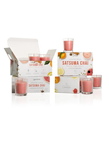 Yummi Set of 24 Satsuma Chai Scented Votive Candles in Clear Glass