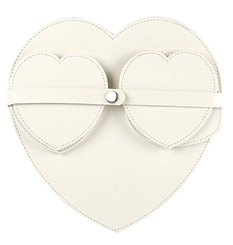 Heart Shape Faux Leather Protective 4 x Coaster & 4 x Placemat Place Mat Set in Choice of Colours (Black) Heart of Home