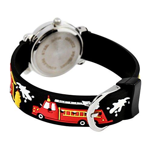 ELEOPTION Waterproof 3D Cute Cartoon Digital Silicone Wristwatches Time Teacher Gift for Little Girls Boy Kids Children (Black Fire Engine)