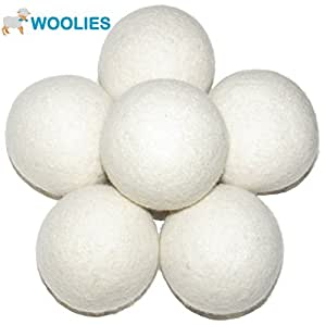 Wool Dryer Balls 6 Pack of XL Dryer Balls made of 100% Premium New Zealand Wool - All Natural & Organic - Replaces Fabric Softener & Dryer Sheets
