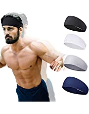 Sports Headbands for Men and Women (4 Pack) - Lightweight Sweat Band Moisture Wicking Workout Sweatbands for Running, Cross Training, Yoga and Bike,Unisex Hairband- NO Slip Sport Sweatbands & Sweat Wicking Athletic Head Wrap Bands Fit Over Hair